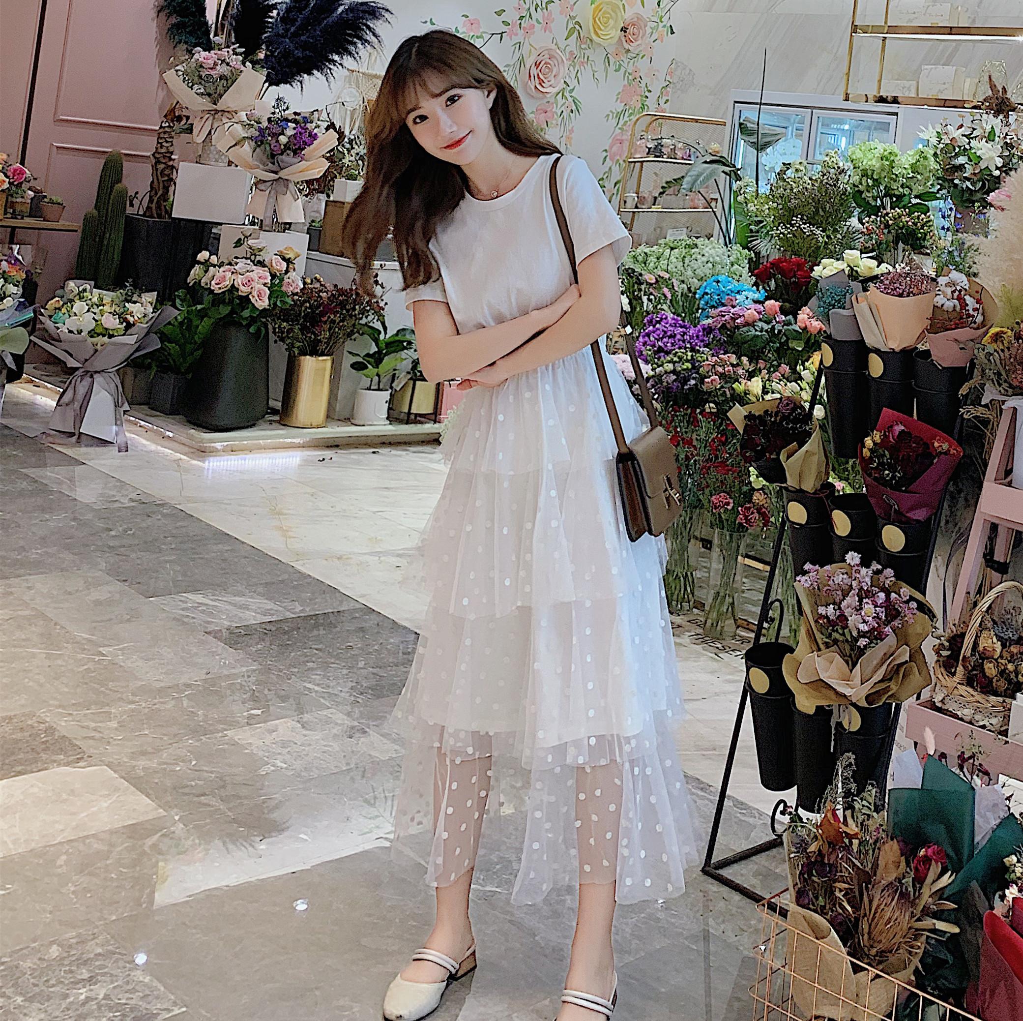 69.00元包邮瘦小个子女生穿搭夏季长裙150cm显高xs加小码女装超仙155连衣裙新