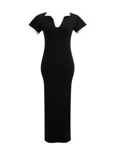 撞色拼接设计感女法式polo领连衣裙