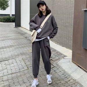 时尚休闲套装2019秋冬季新款宽松大码女装韩版卫衣裤子网红两件套