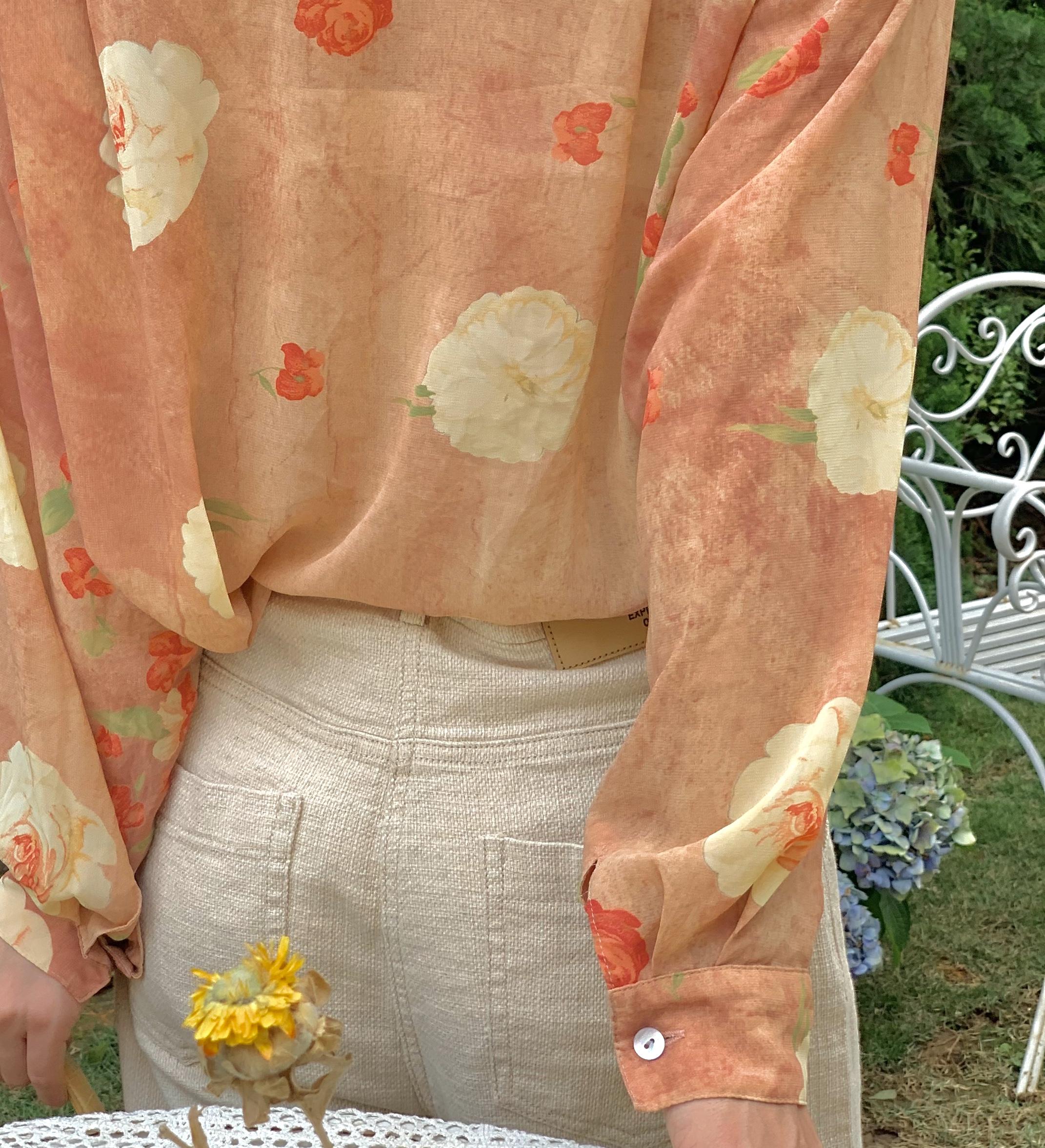 苔丝 春夏复古橘粉色晕染玫瑰小翻领长袖油画花衬衫女古着感上衣