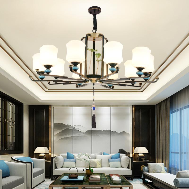 新中式客厅吊灯现代简约复式楼大厅灯禅意中国风酒店餐厅大吊灯