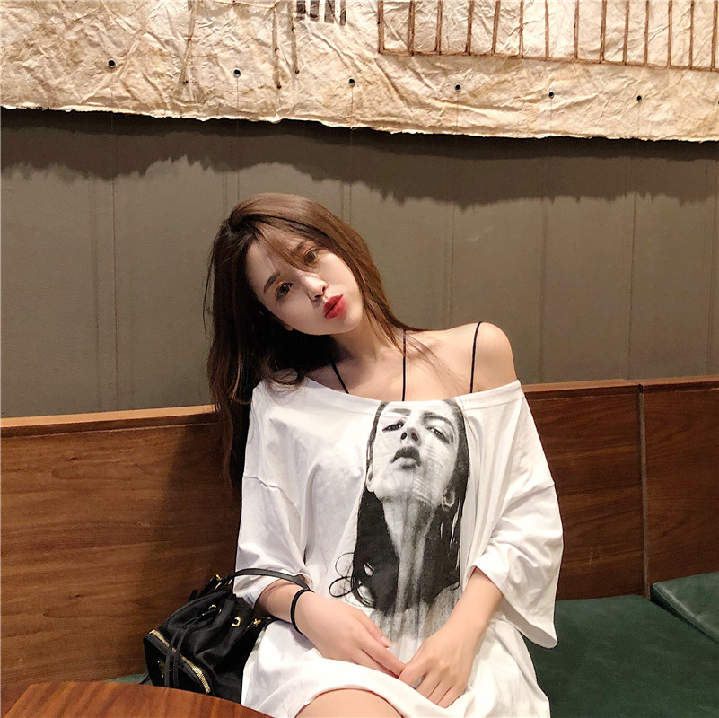 Hong Kong style new large loose thin one line neck off shoulder short sleeve T-shirt womens summer middle long large half sleeve top