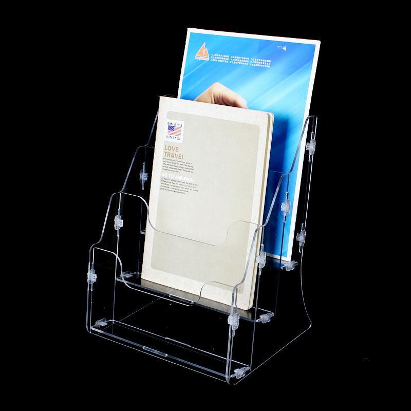 百宝箱办公桌面收纳盒透明亚克力文件架资料框银行柜台展示架BG28