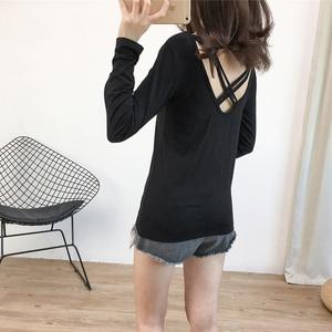 宽松显瘦小心机长袖T恤女秋新款露背V领后背交叉带小众设计感上衣图片