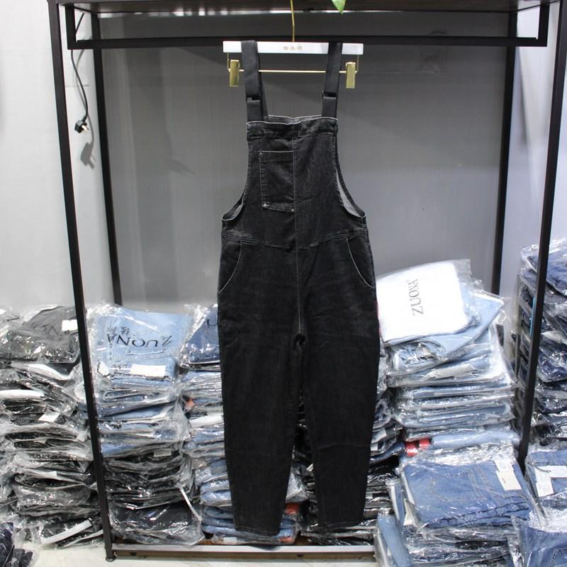 佐娜75099黑色磨白减龄连体背带裤