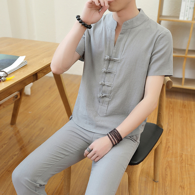 男士全棉复古学生短袖t恤9分裤套装学生两件套A443/TZ005/P45