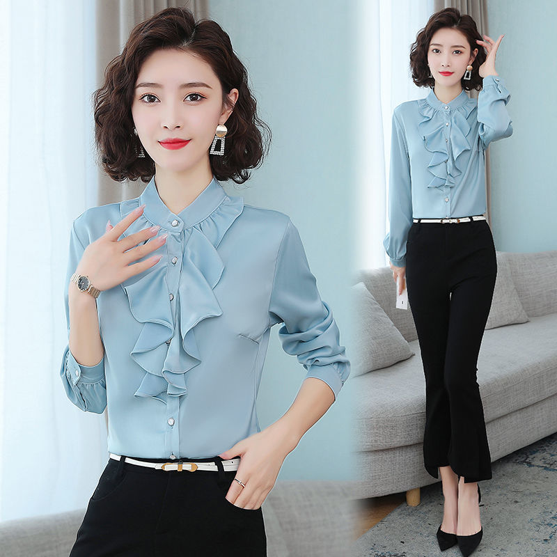 Chiffon shirt womens 2021 spring and autumn new standing collar long sleeve professional shirt foreign style Ruffle bottom top