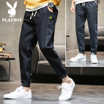 Playboy flagship 2019 autumn jeans mens thin section Tide brand trend nine points loose casual long pants