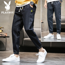 Playboy flagship 2019 autumn jeans men thin trend tide nine points loose loose long trousers