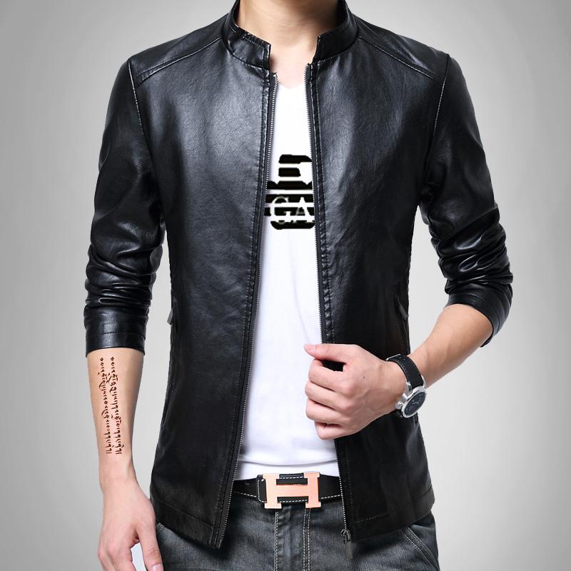 Нехватка некоторых размеров товара осень мужской кожаная одежда тонкий корейский красивый случайный воротник кожзаменитель краткое модель кожа куртка молодежь мужской пальто