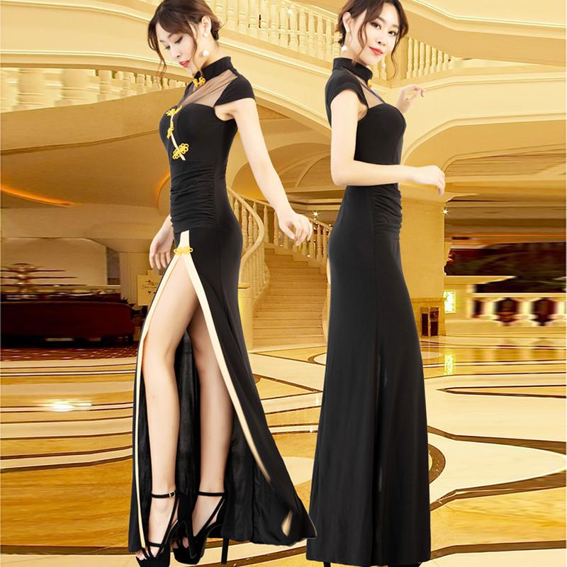 旗袍式连衣裙改良版时尚长款气质显瘦夜场礼服黑色优雅工作服定制