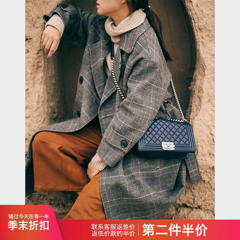赫本风冬季羊毛格子双面绒大衣女流行韩版中长款毛呢外套2018新款
