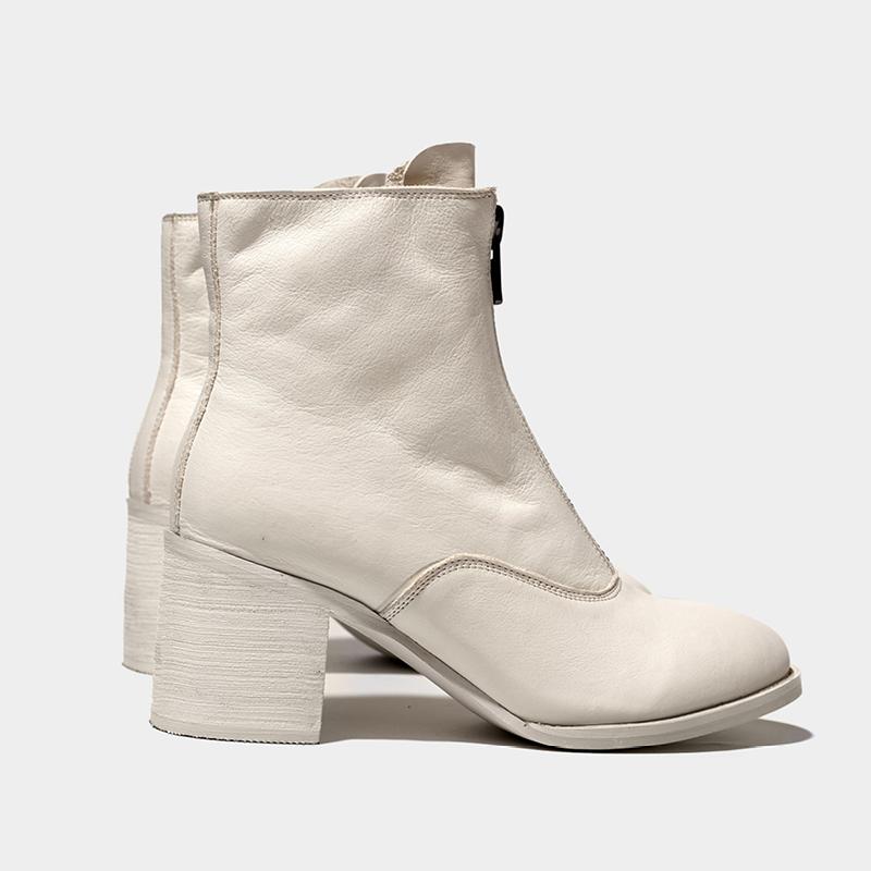 2021新型のマーティン靴女性のインロン風のハイヒールの靴は太いです。韓国版のトップファスナーのショートブーツと白い靴です。