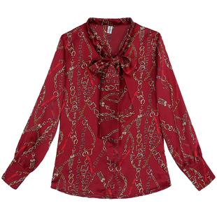 女裝真絲襯衫長袖春秋新款蝴蝶結繫帶職業緞面上衣桑蠶絲寬鬆襯衣