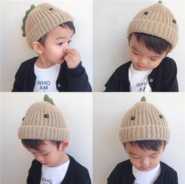 宝宝秋冬帽子可爱超萌恐龙造型毛线帽冬季男童女童保暖套头针织帽