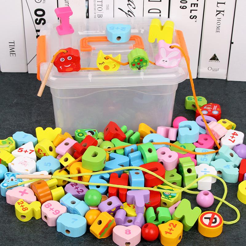 幼儿童大颗粒串珠子益智力早教积木