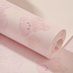 墙纸自粘卧室温馨女孩宿舍装饰粉色儿童房卡通立体无纺布家用壁纸