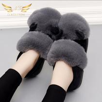 冬季棉拖鞋女包跟室内居家居厚底防滑保暖月子鞋韩版冬天毛毛拖鞋