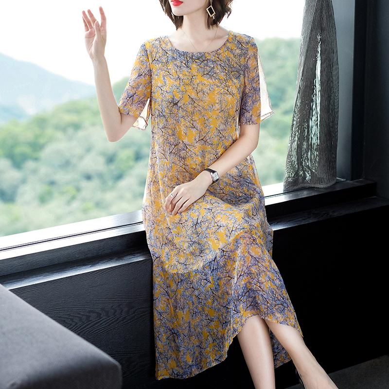 新款大码女装阔太太宽松重磅杭州真丝连衣裙短袖夏印花桑蚕丝长裙
