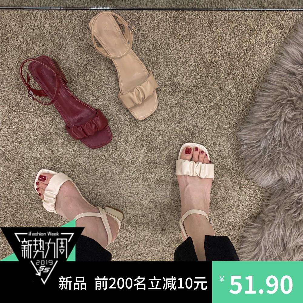 凉鞋女2021年夏季新款时装网红仙女风港风中跟粗跟露趾ins高跟鞋