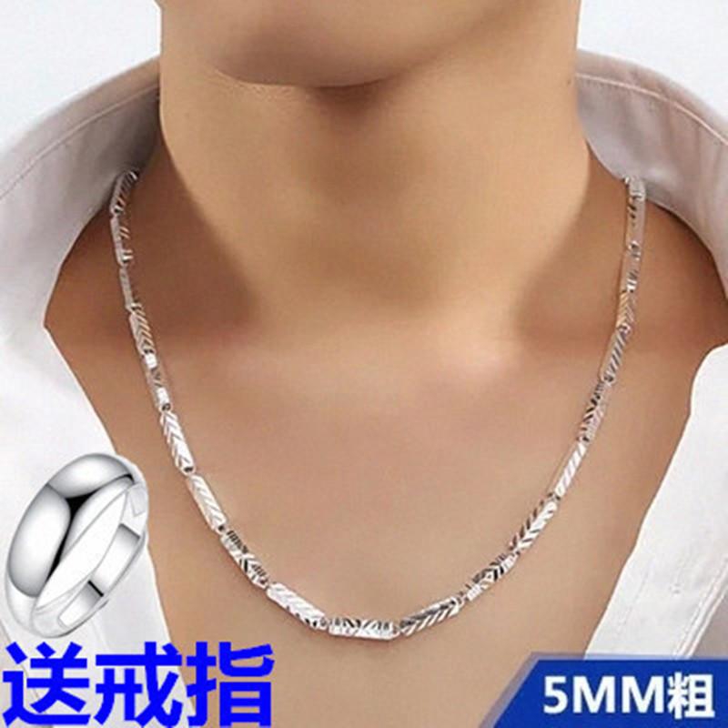 Korean mens necklace pure silver short collarbone hexagonal platinum chain personality fashion boy 990 silver chain fashion man