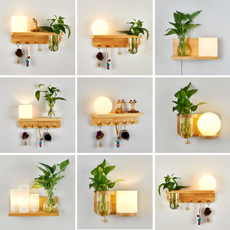 北欧简约室内拉线开关绿植物实木过道轻奢装饰阳台中式床头灯壁灯