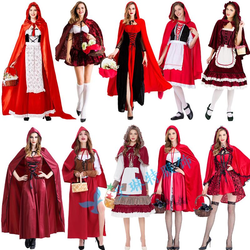 化妆舞会cos万圣节服装 小红帽衣服成人吸血鬼表演服 女巫公主裙