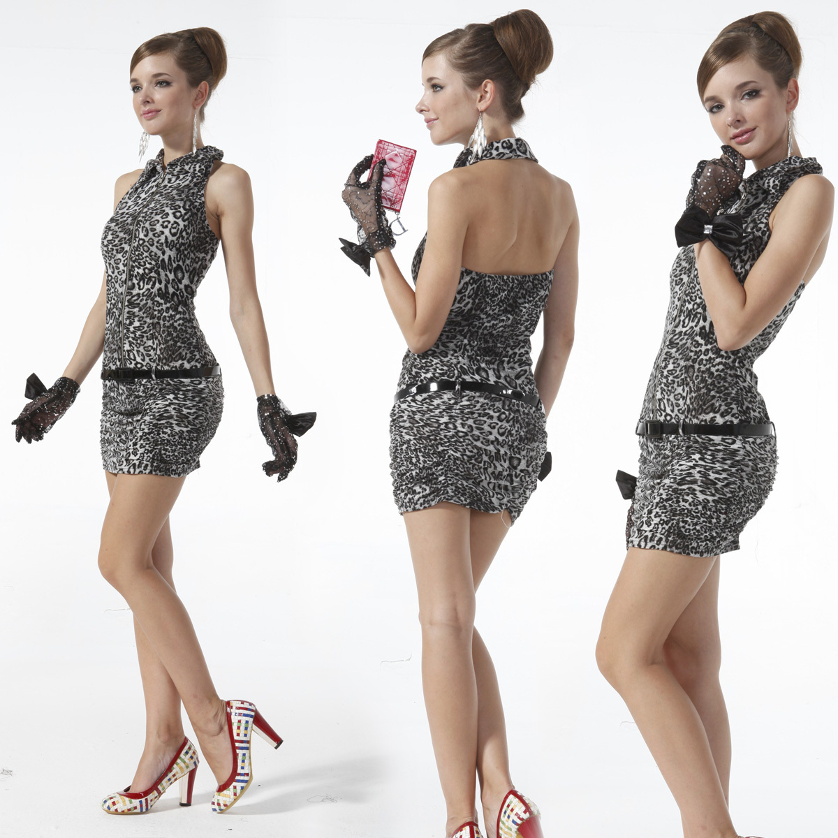 21666 grey leopard Halter sexy dress professional brand kyy zipper with belt recommendation