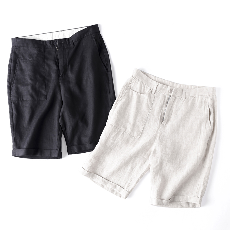 [nlnlnl] summer quick drying linen shorts mens fashion slim fit beach Capris casual breathable washed straight pants