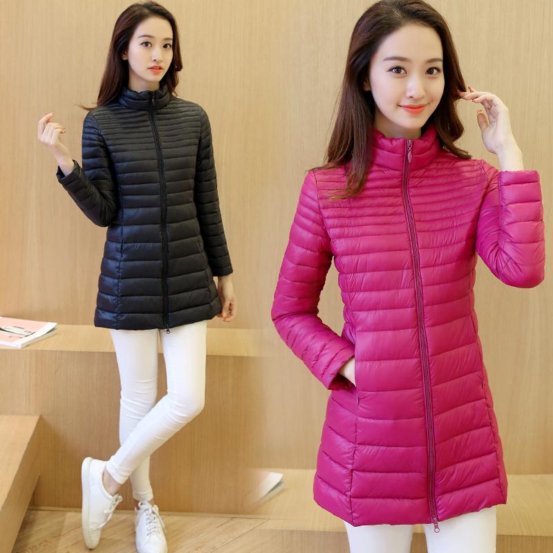 Fall / winter 2020 light down cotton padded clothes womens Korean slim stand collar medium length slim oversized work coat