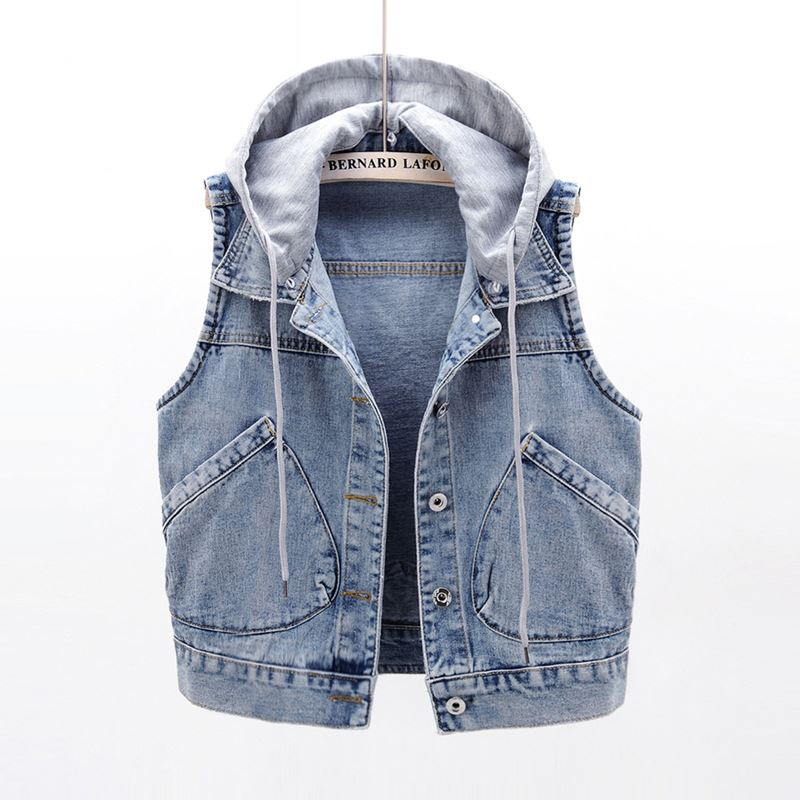Hooded denim waistcoat womens short 2021 spring and autumn versatile fit Vest Jacket jacket