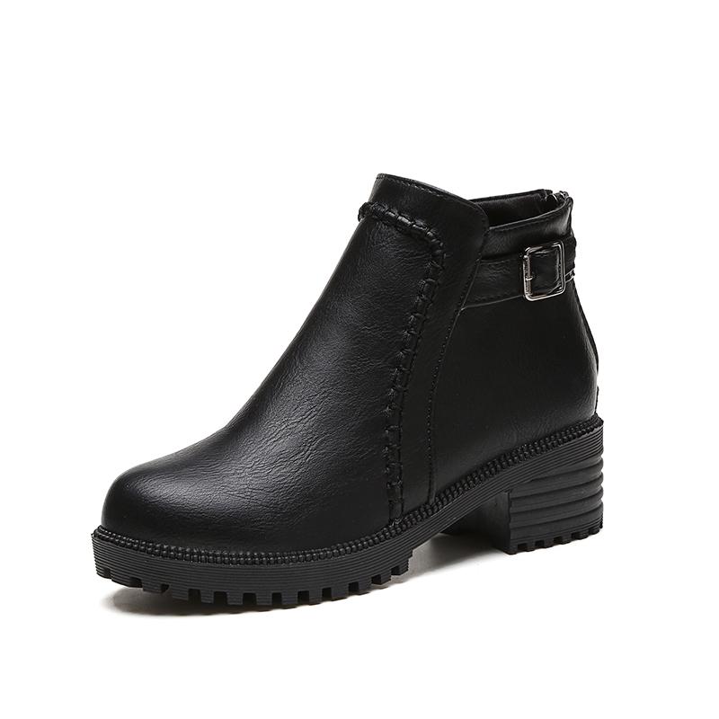2016 秋 加厚加絨短靴女平底女靴子切爾西靴平跟馬丁靴短筒