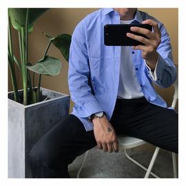 MD/2018新款ulzzang男衬衫蓝白条纹衬衫韩国BF东大门百搭修身衬衣图片