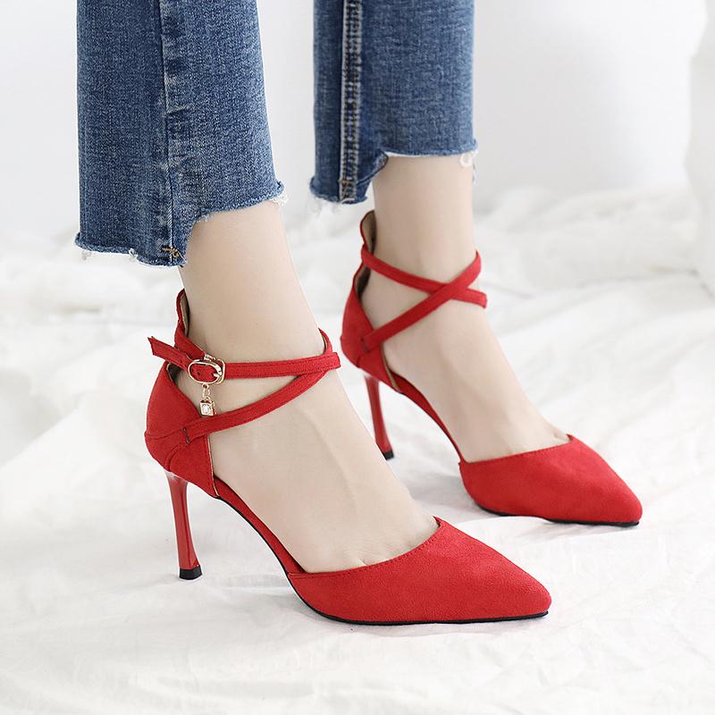 限100000张券红色女细跟结婚冬交叉绑带高跟鞋
