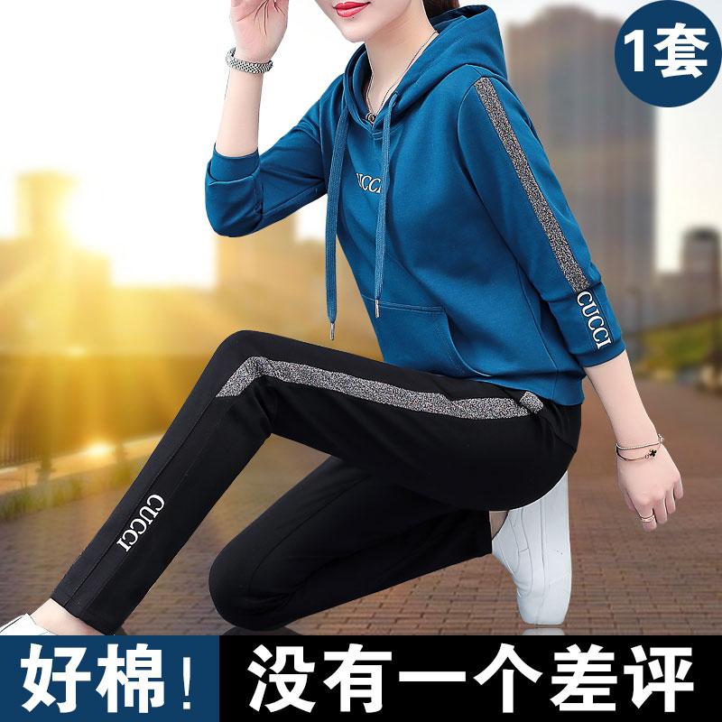 运动套装女春秋2020年新款春装宽松韩版卫衣时尚洋气休闲服两件套图片