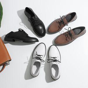 英伦学院风真皮系带两穿踩跟单鞋休闲女鞋白色复古软妹平底小皮鞋