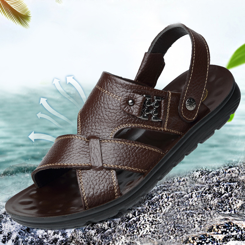 Breathable non slip sandals mens leather 2021 summer new leisure beach mens shoes dual purpose external wearing fathers sandals