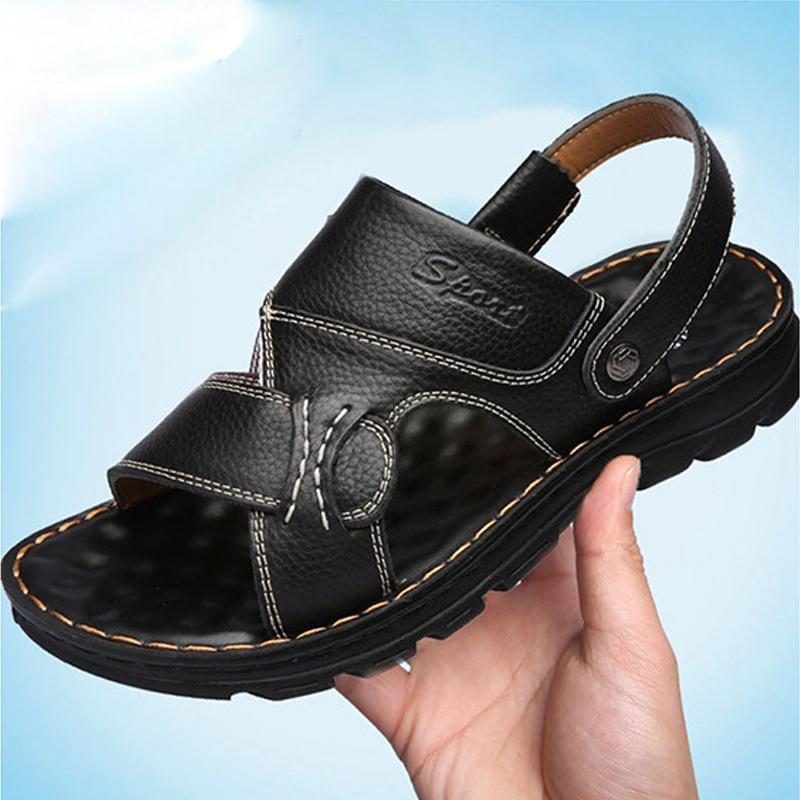 凉鞋男外穿2021夏季新款真皮沙滩鞋两用凉拖男士休闲耐磨爸爸鞋子
