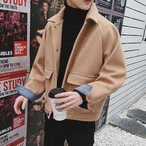 秋冬季新款宽松呢子外套韩版男女短款大口袋复古男装简约毛呢大衣