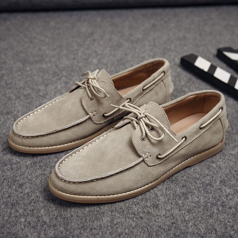 Spring and summer frosted leather casual soybean shoes men's shoes retro sailboat shoes overshoot lazy shoes low top casual single leather shoes