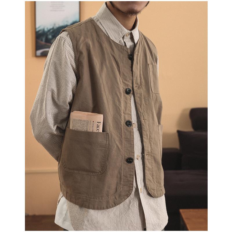一本番長 Amekaji vest美式复古多口袋户外狩猎马甲 纯色男女内搭
