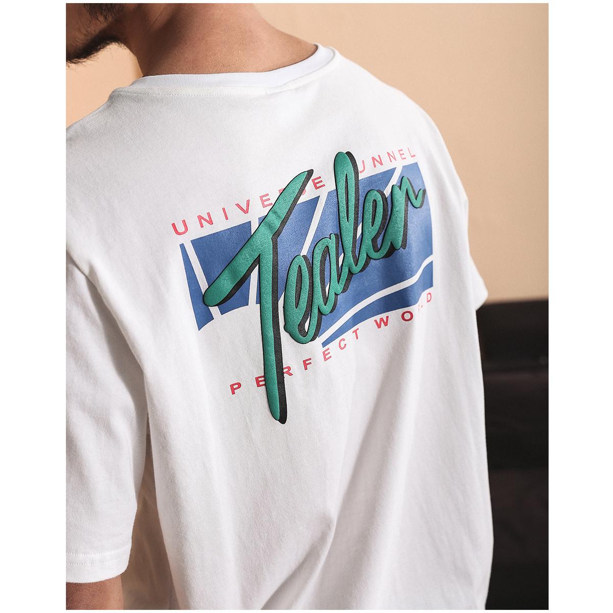 一本番�LPRINTED T-SHIRT美式复古简约字母印花短袖男圆领潮流T恤