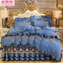 Crystal plush cotton bed cover type bed sheet and quilt cover four piece set 1.5/1.8m thick bed cover bed skirt four piece bed products
