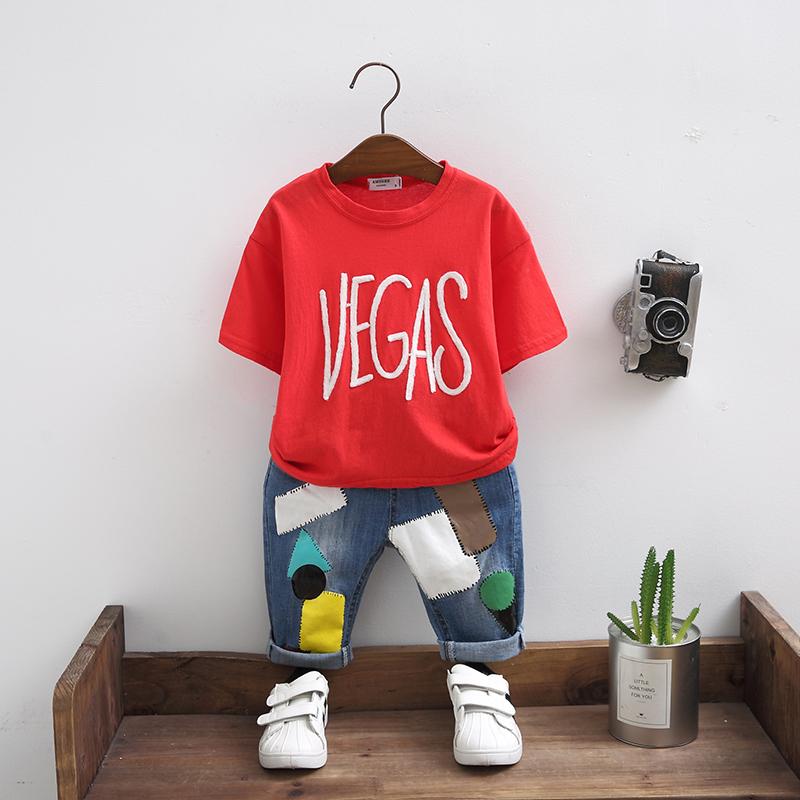 童装男童夏装套装2018新款儿童夏季5短袖牛仔裤6两件套7中童潮衣