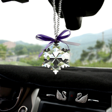 Automobile pendant car interior decoration, crystal snowflake interior ornament pendant, female car mounted rear view mirror, personality originality