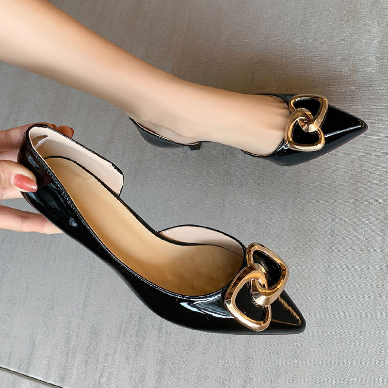 Mirror high heels womens mid low heels spring and summer fashion shoes side empty leather tight buckle pointed shallow mouth slim heel shoes