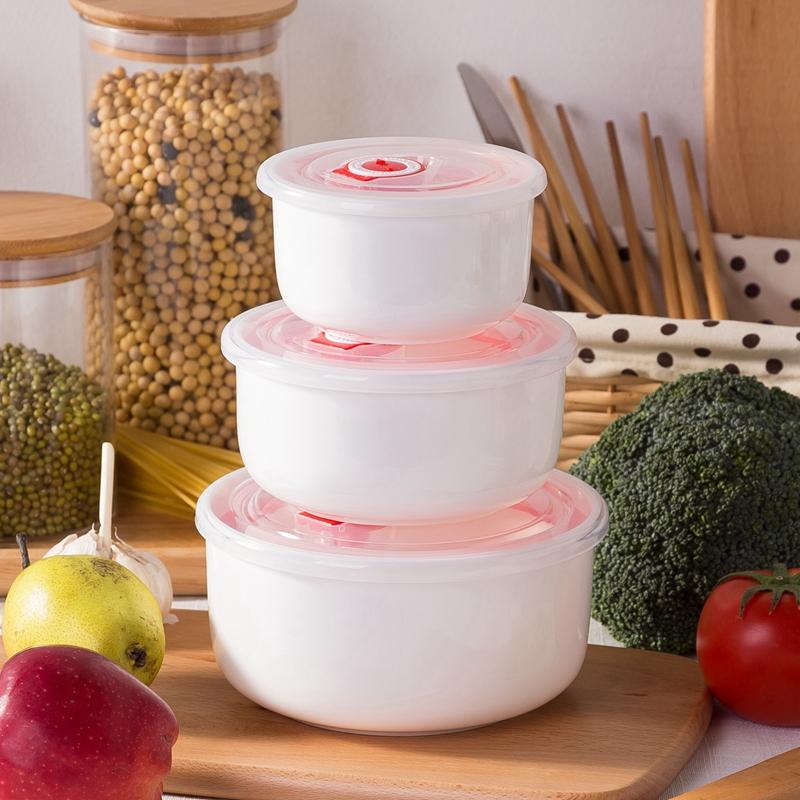 純白色骨瓷微波爐 保鮮碗三件套水果帶蓋碗陶瓷密封碗學生家用