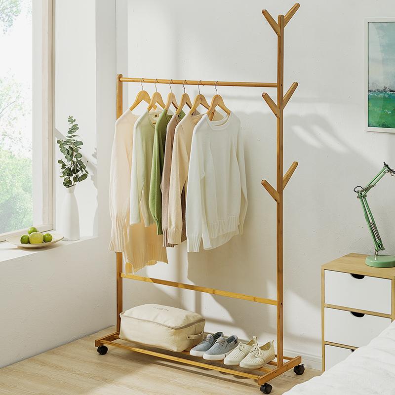 简易衣帽架落地实木卧室挂衣架子家用客厅收纳架衣服置物简约现代