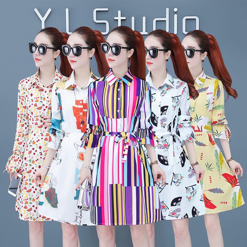 韩版连衣裙2020新款秋季中长款衬衫