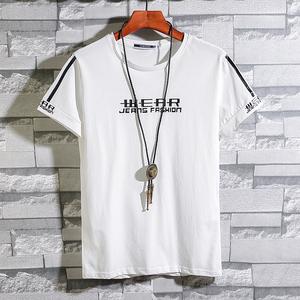 夏季2019新款韩版潮流男装丅恤衫 夏天圆领纯棉半截袖短袖t恤